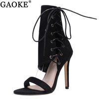 Roman Shoes Women Sandals Sexy Gladiator Lace Up Peep Toe Sandals High Heels Woman Ankle Strap