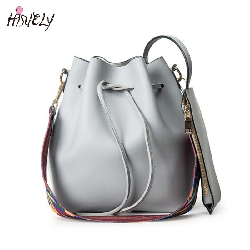 2019 Forró eladó Új divat Női PU bőr vödör táska váll verzió Alkalmi női táska Női Messenger Bag tervező fekete