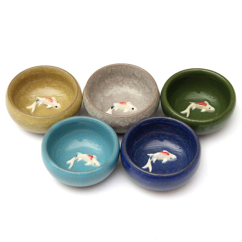 Lo mejor de 55 ml, taza de té Kongfu de cerámica con glaseado agrietado de hielo colorido, taza de té en 3D de porcelana con forma de carpa, tetera, tazas de bebida, regalos creativos para el hogar