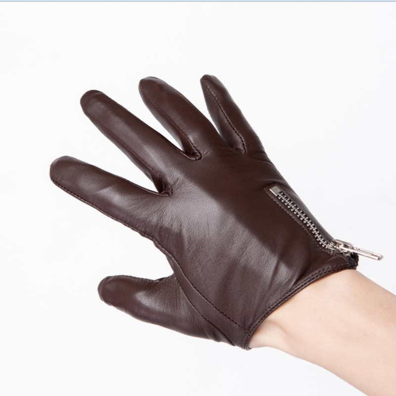 man and women side zipper whole piece of best Italy leather gloves black