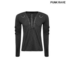 Gothic fashion lashing Men's black T shirt Steampunk Rock Long sleeve T-shirt with Lacing Punk Rave T-462(China)