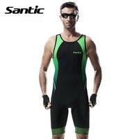 Santic Men Triathlon Clothing Sleeveless JerseysElastic Cycling Jersey Tight Suit Bike Cycling Swim Triathlon Skinsuit M5C03006
