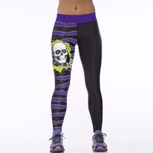 New 033 Sexy Girl Jogging Leggings Comics Purple Stripes SKull Bone Prints High Waist Running Fitness Sport Women Yoga Pants