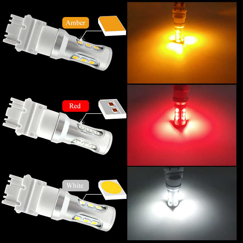 CNSUNNYLIGHT T25 3156 PY27W PY27/7W LED Car Backup Reverse Lamp Tail Stop Bulbs DRL Fog Turn Signal Lights White Red Amber 12V