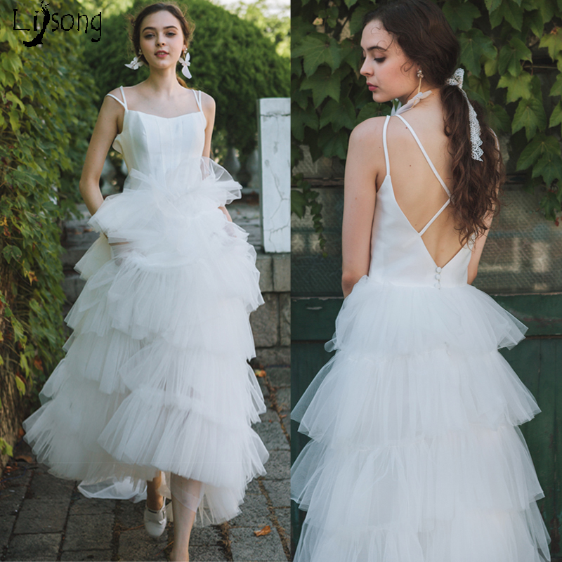 Chic Pure White Tiered Ruffles Tulle Women Wedding Dress Open Back ...