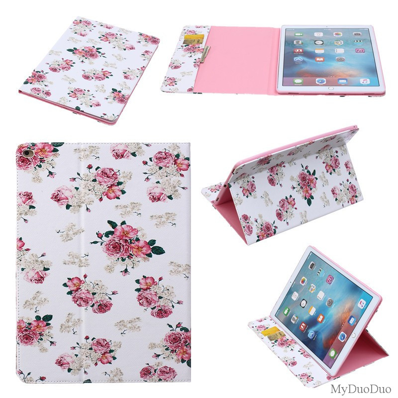 Flower Owl Tree Cartoon Book Stand Style PU Leather Case Tablet Cover Flip Stand For Ipad Pro 12.9
