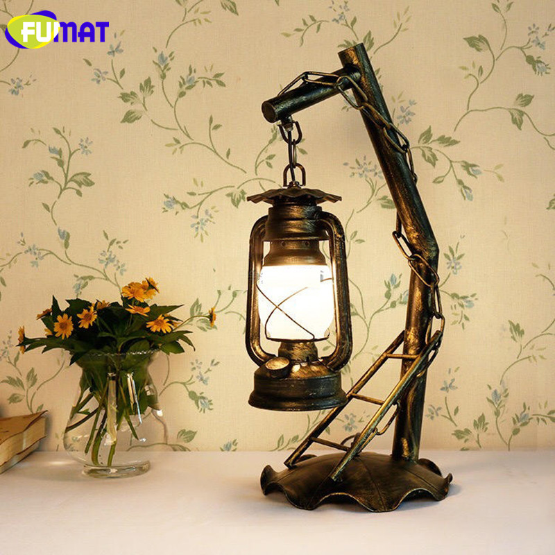 FUMAT Vintage Iron Kerosene Table Lamps Retro Metal Desk ...