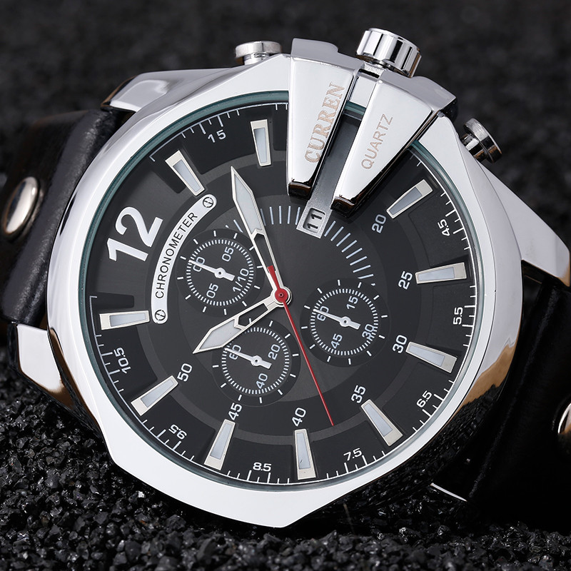 Curren 8176 Men Watches Top Brand Luxury Gold Male Watch Fashion Leather Strap Outdoor Casual Sport Wristwatch With Big Dial