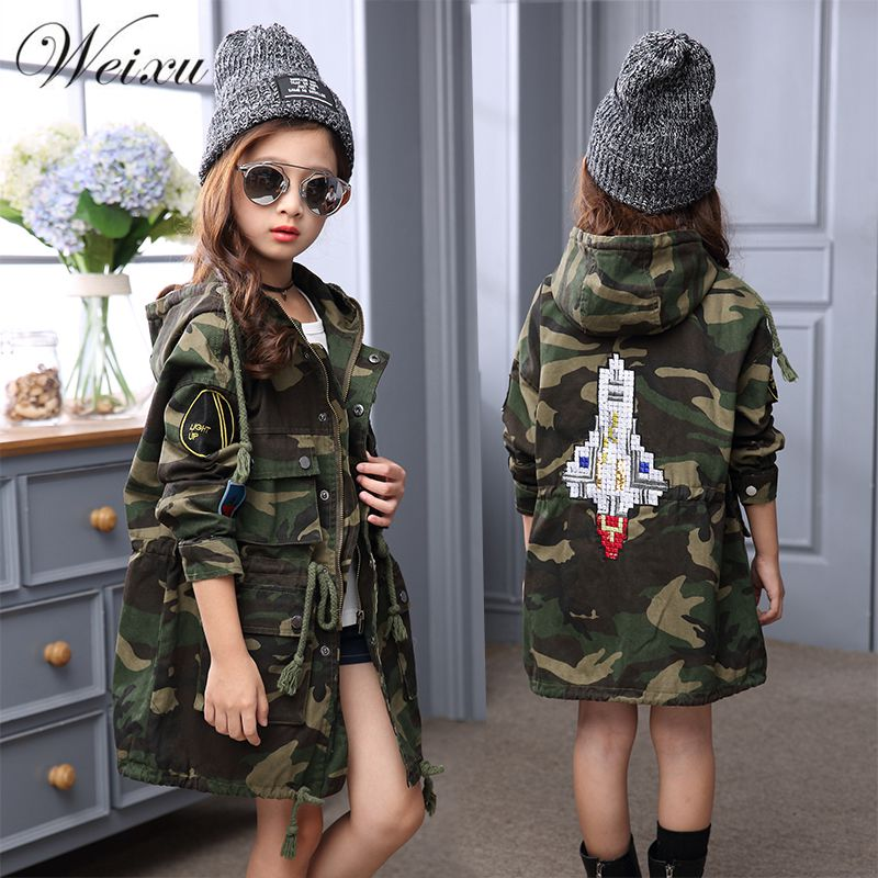 Children Girls Hooded Trench Coat Autumn Winter 2018 Kids Army Camouflage Long Jacket Coats Teenage Girls Outwear Windbreaker 2018 autumn girls long trench outerwear coats children s hooded embroidery letter long trench coat kids casual long sleeve coat