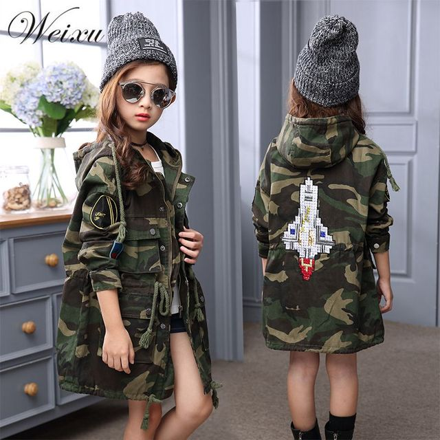 d0883c9bb Children Girls Hooded Trench Coat Autumn Winter 2018 Kids Army ...