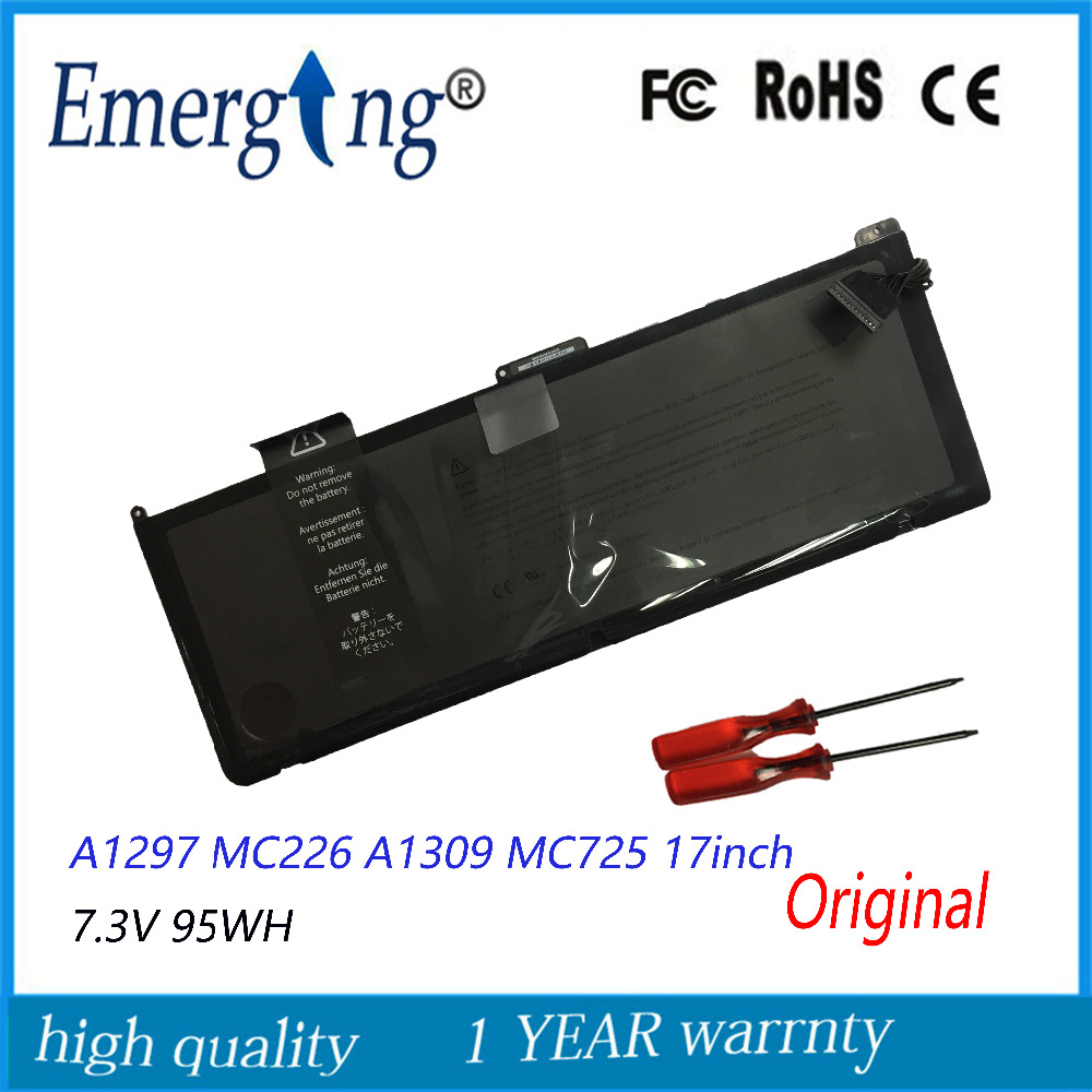 цена на New 7.3v 95Wh Original Laptop Battery A1309 for APPLE MacBook Pro 17INCH 2009year A1279 MC226TA With Tools