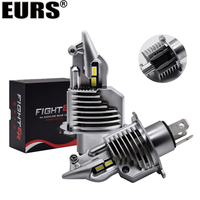 EURS 2pcs Fighter H4 LED Bulb 12V 24V 6500K 5800LM High Low White Beam H4 LED Lamp Fighter Shape 1:0 Size Original Bulb