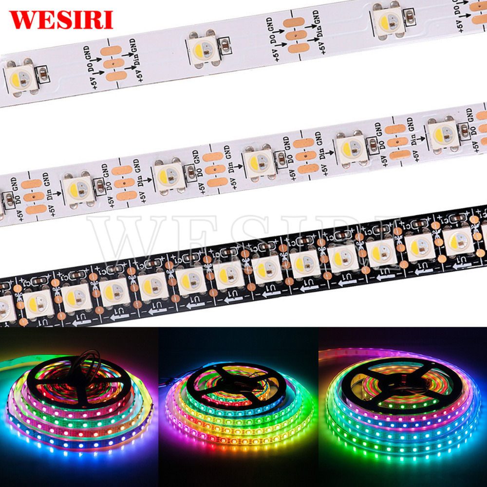 Rgbw 4 In 1 Chip 30/60/144leds/pixels/m 5050 Smd Addressable Led Strip Ip30 Ip65 Ip67 Dc5v Refreshing And Beneficial To The Eyes 1m/5m Sk6812 similar With Ws2812b