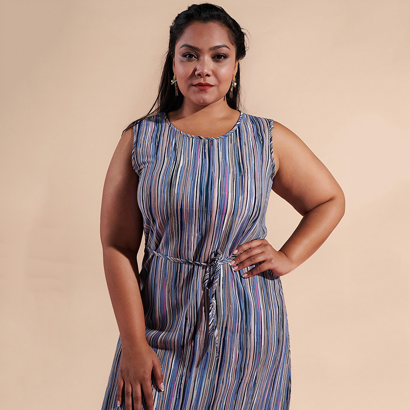 7c804940d5f Vintage Women Striped Printed Long Dress Round Neck Sleeveless Waist Belt  Slim Casual Loose Maxi Dresses Plus Size 3XL Vestidos-in Dresses from  Women s ...