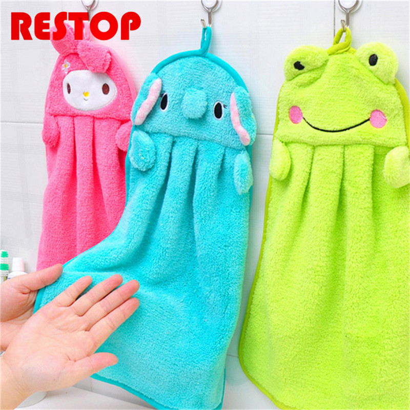 Candy Color Baby Hand Towel Coral Velvet Childrens Cartoon Animal Hanging Wipe Bath Face Towel Cleaning Clothes RES930