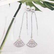 Купить с кэшбэком New 925 Silver Chain Luxury Zircon Drop Earrings for Women Fan Shape Long Tassel Earring Fashion Jewellery Wedding Party Gift