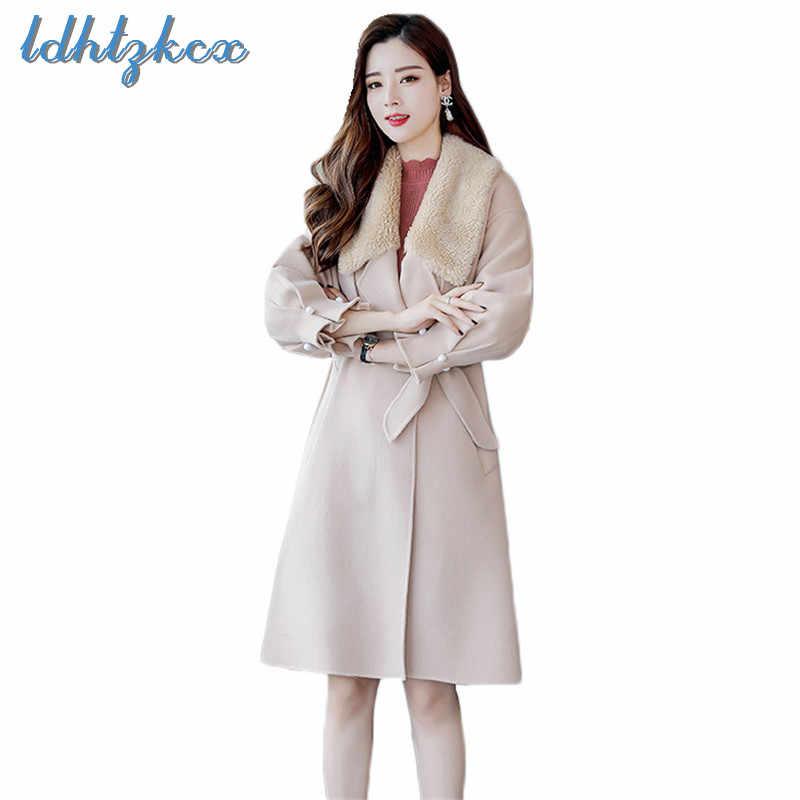 Ldhtzkcx Warna Solid Ukuran Besar Dilepas Wol Mantel Wanita 2018 Musim Gugur Musim Dingin Baru Fashion Manik-manik Busur Kantong Wol Mantel 293