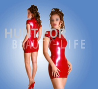 100% natural, Sexy Red cheongsam fetish fancy Latex Dress Skintight for Women