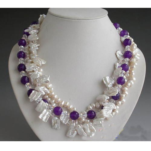 Wholesale Pearl Jewellery,4 Rows 18inches Purple Rice Biwa Pearl,Purple Ja-des,Faceted Crystal Beads Necklace,New Free Shipping.Wholesale Pearl Jewellery,4 Rows 18inches Purple Rice Biwa Pearl,Purple Ja-des,Faceted Crystal Beads Necklace,New Free Shipping.