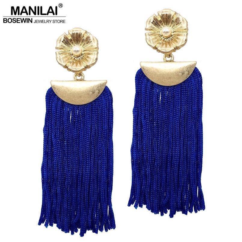 MANILAI Bohemia Tassel Earrings For Women 2017 Vintage Long Fringed Statement Earring Fashion Jewelry Wholesale Gift