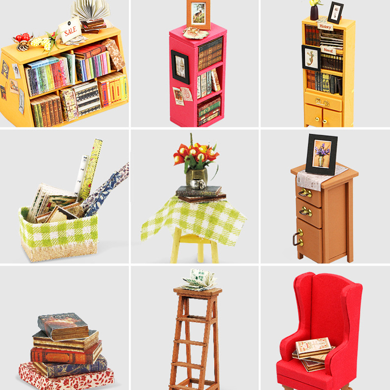 DIY Doll House Miniature With Furnitures Wooden Dollhouse Handmade Puzzle Toys Gift For Children Sams Bookstore DG102 #E