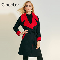 Clocolor Women Trench Coat Long Sleeve Black Yellow Lapel Autumn Winter Fashion Modern Top 2017 Female