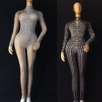 2 цвета пикантные полный жемчуг растягивающийся костюм ночной клуб одна деталь боди костюм сценический наряд певица танцор выступления ком