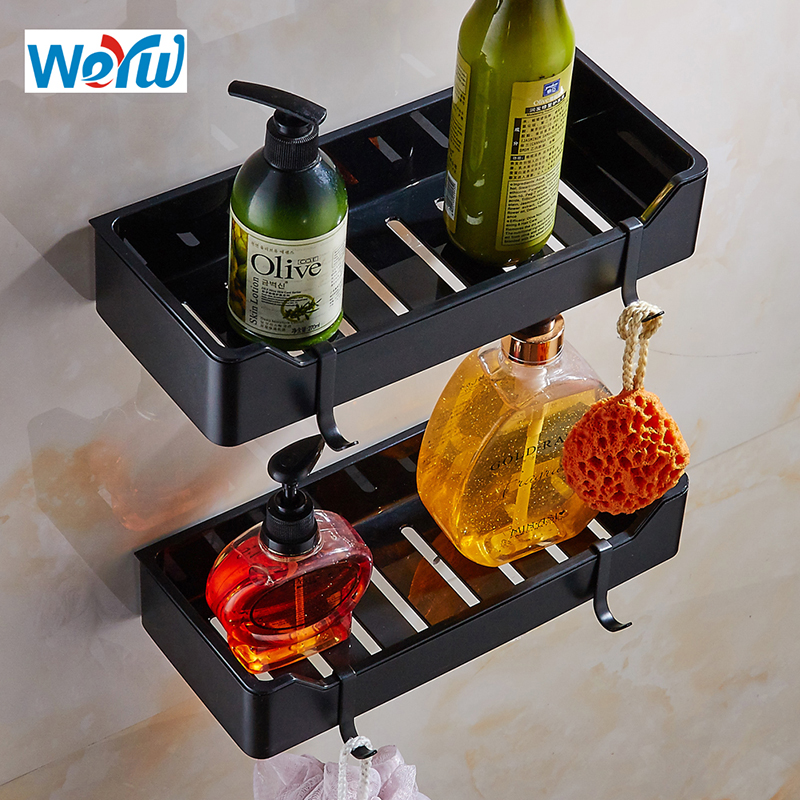 WEYUU Black Wall Mount Bathroom Shelves Stainless Steel+ABS Plastic Shampoo Soap Cosmetic Shelves Storage Organization chiyuan cr v6 6 plastic stainless steel plier black
