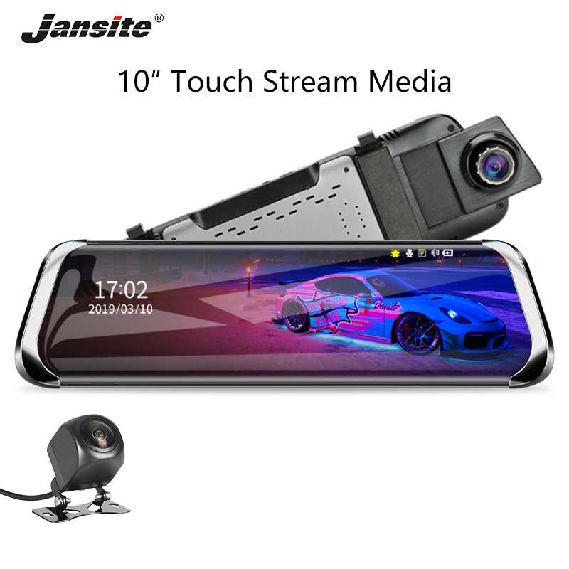 "Jansite 10"" Car DVR Stream Touch Screen Dash cam 1080P front camera Recorders Rear view Dual lens Mirror with 1080P Rear camera"