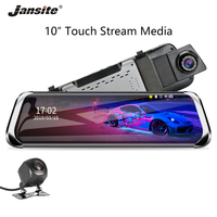 Jansite 10 Car DVR Stream Touch Screen Dash cam 1080P front camera Recorders Rear view Dual lens Mirror with 1080P Rear camera