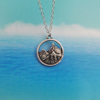 SanLan good quality camping jewelry Outdoor Jewelry Gifts Lovely round pendant Pine Tree necklace under the mountain 1
