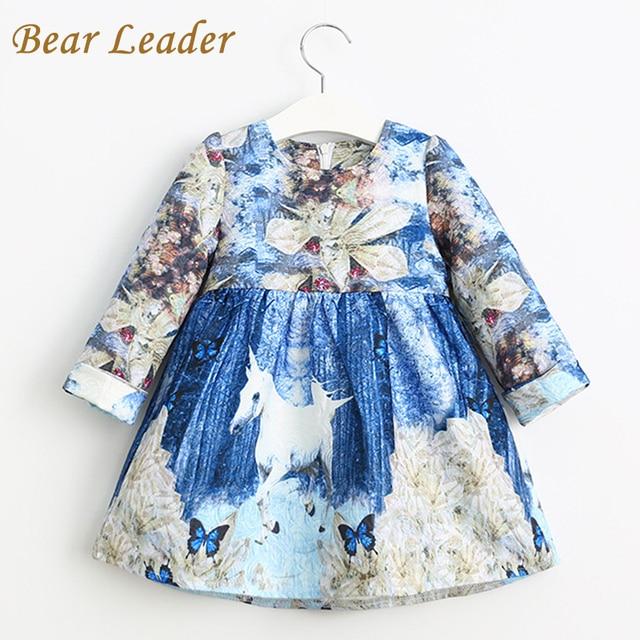 Лидер медведь Осень Длинный Рукав Девушки Одеваются 2016 Европейский и Американский Стиль Единорог Печати Дизайн для Детей Одежда Платье Принцессы