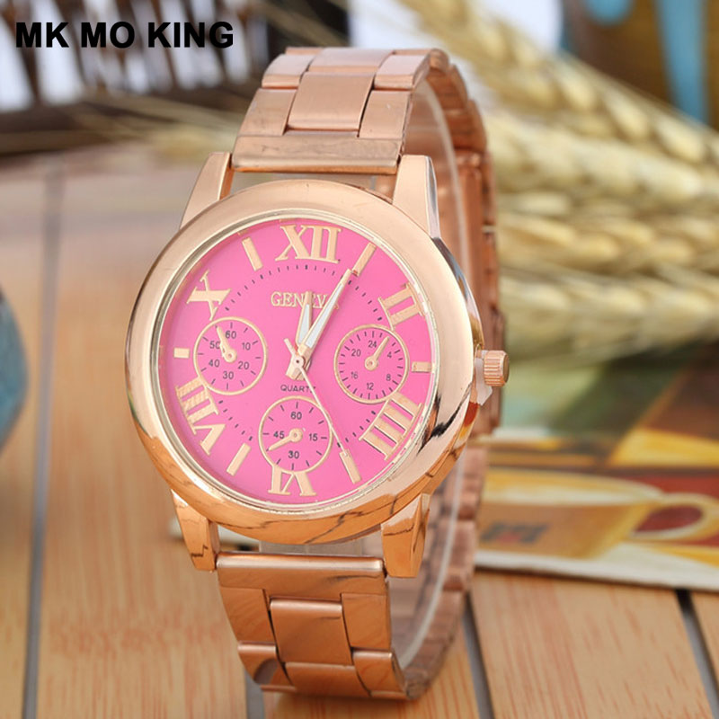Luxury Men's Gold Watch Women Roman Numerals Stainless Steel Belt Business Wrist Watch Fashion Bracelet Ladies Clock Femme Reloj