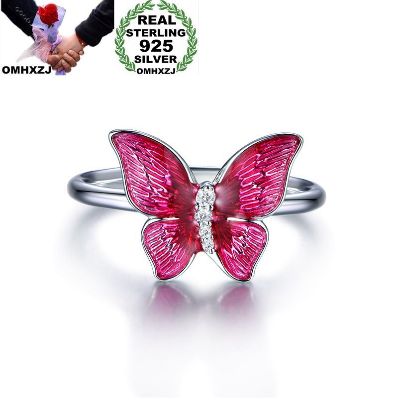 OMHXZJ Wholesale European Fashion Woman Girl Party Wedding Gift Red Butterfly Enamel AAA Zircon 925 Sterling Silver Ring RR134