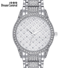 Dreamcarnival 1989 Brand New Crystal Watches for Women Luxury Stone Dial Metal Bracelet Oman Hot Selling Gift Gold Colors A8265D