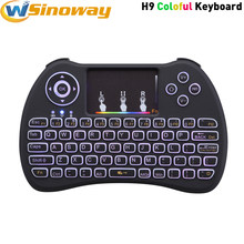Banyak Warna Backlit H9 Mini Wireless QWERTY Keyboard dan Mouse Combo Touchpad Udara Mouse untuk Laptop Tablet Android Tv Box(China)