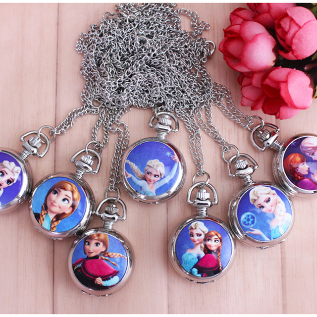 2018 7style anna elsa Pocket Watch with Necklace Chain Fashion Steampunk Quartz