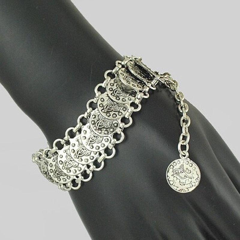 Bohemian Antalya Coin Bracelets Silver Gypsy Boho Festival Turkish Jewelry Tribal Ethnic Statement Jewelry