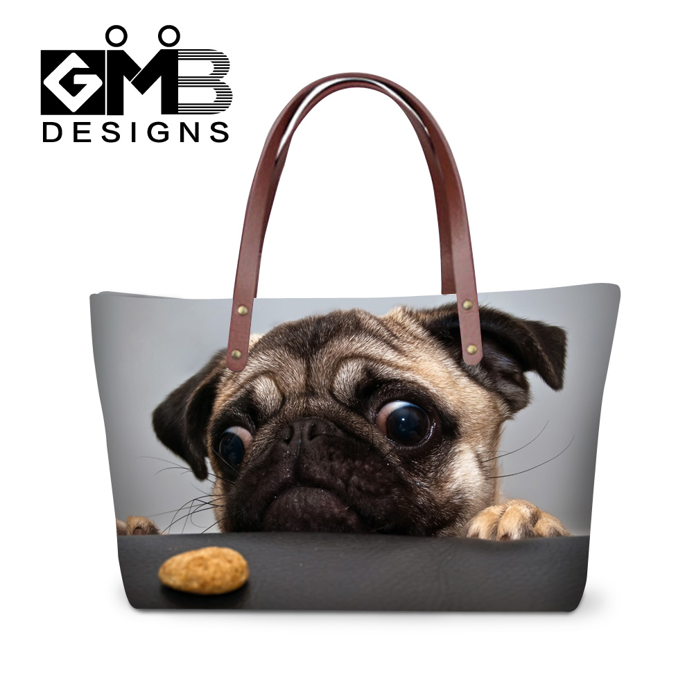 Dispalang factory direct wholesale cute pug dog printed handbags women brand hand bag ladies shopping totes bags girls beach bag