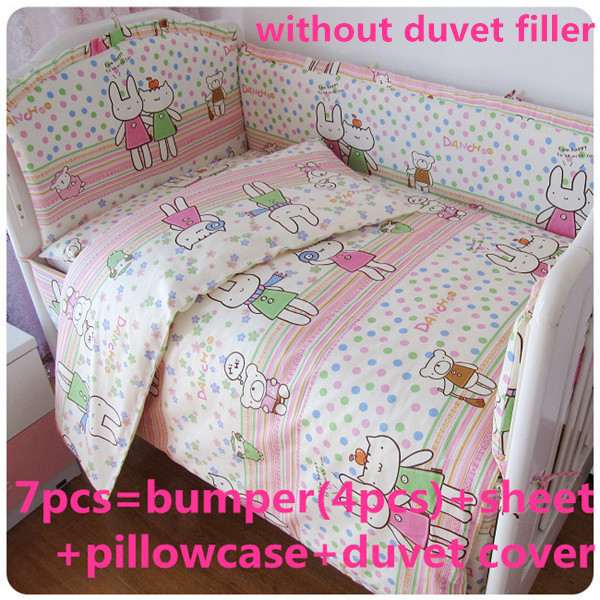 Promotion! 6/7PCS Bedding Set for Crib!!!Baby Cot Bed,duvet cover ,Wholesale and Retail Children Cot Sets ,120*60/120*70cm