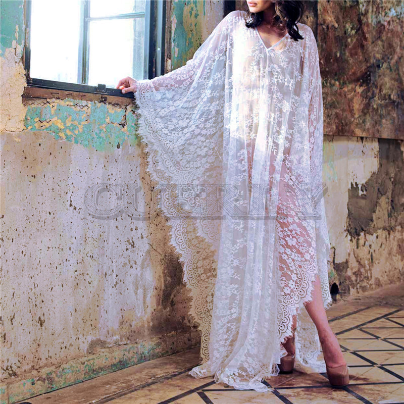 Ameision Sexy Transparent v-back longue robe de plage lâche grande taille femmes d'été Beachwear manches chauve-souris Maxi robe de plage