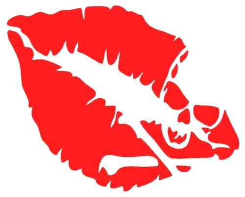 Sexy Red Lip Skull Crossbones Pirate Symbol Art Vinyl Diy