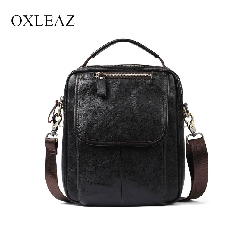 c0b3b7f1a1f0 US $31.86 35% OFF|OXLEAZ Male Small Bag Genuine Leather Handbag Casual Men  Travel Crossbody Bags Sling Bag Handles Tote Hand Shoulder Bags on ...