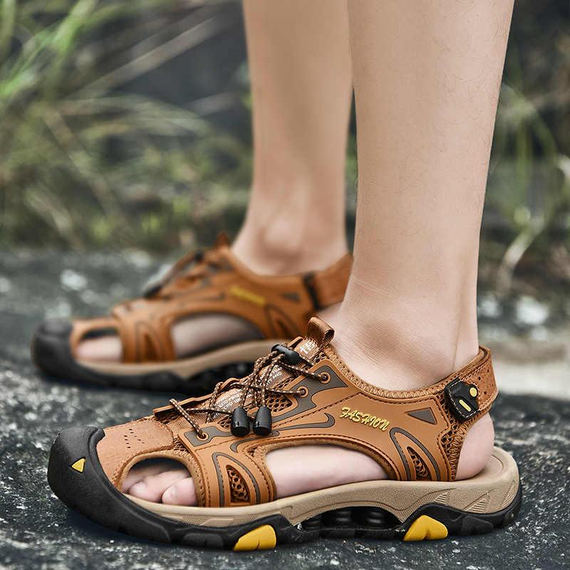 ZUNYU/Новая Летняя мужская обувь мужские кожаные сандалии модные мужские сандалии на плоской подошве мужские сандалии из натуральной кожи пляжные сандалии кроссовки