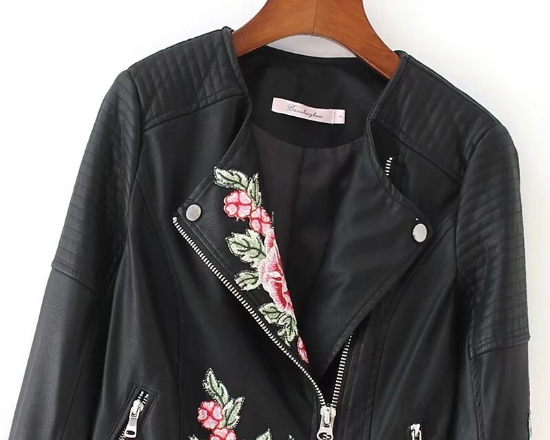 Women faux leather jackets Motorcyle ladies coats female new fashion flower embroidery new 2018 drop shipping black SML spring