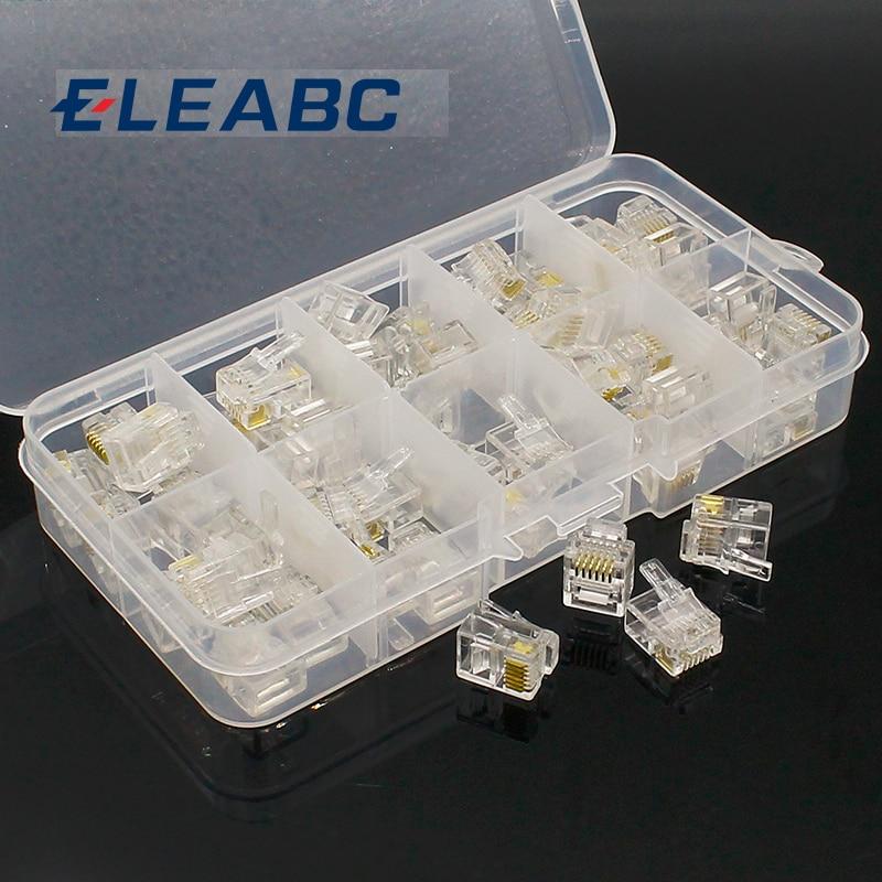 50 pcs RJ11 6P6C Modular Jack Network Male Plugs, 6 Pin, Telephone Connector