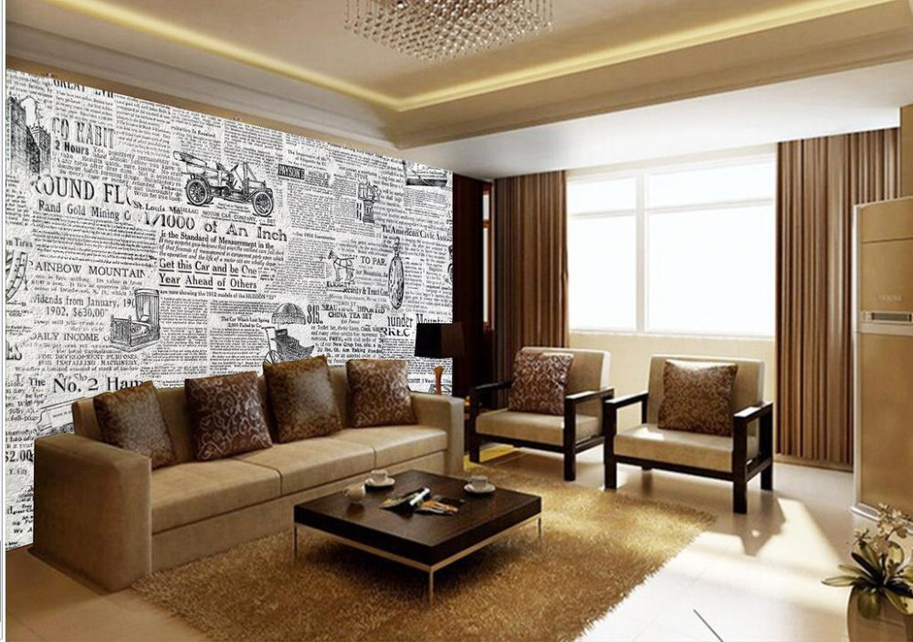 Home Decoration Photo Wall Murals Wallpaper Retro Black