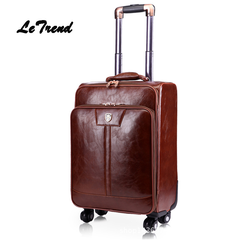Letrend Leather Women 20 inch Suitcases Wheel Rolling Luggage Spinner Business Trolley Trunk 16 inch Men Carry On Travel Bag