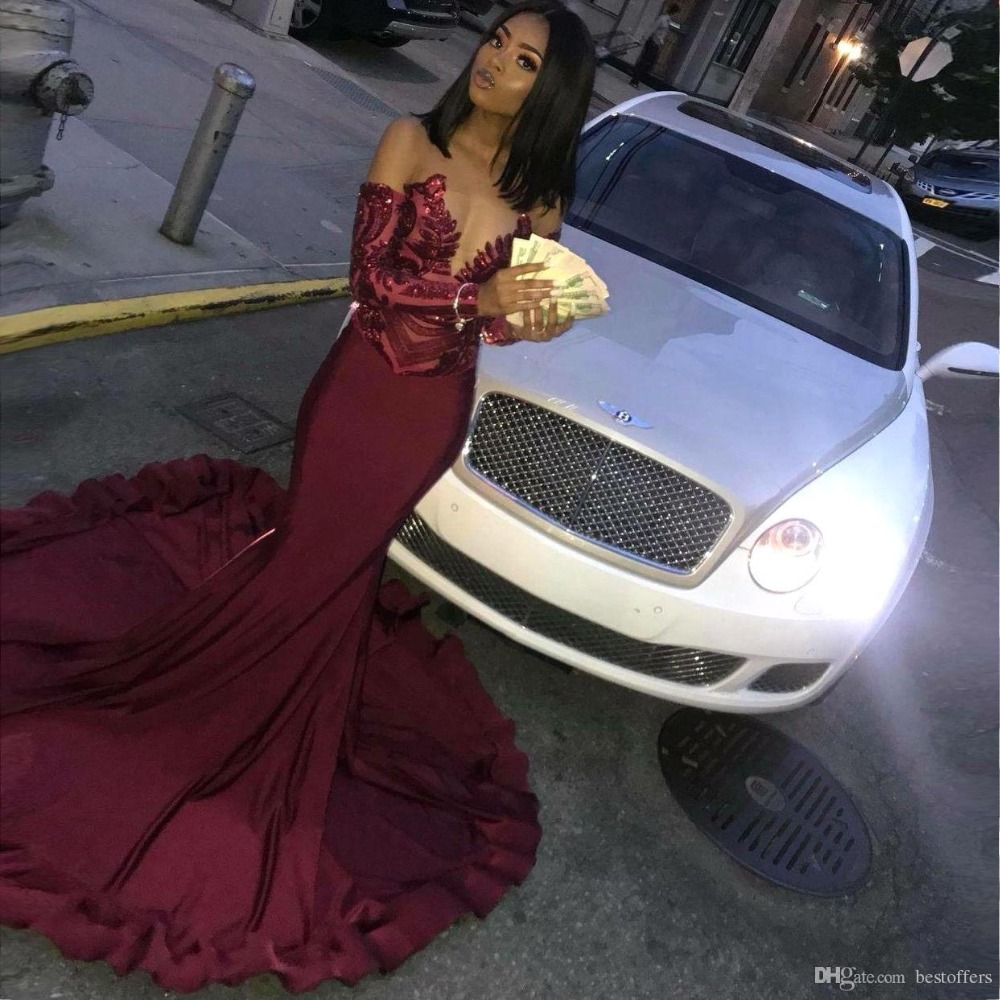 Sexy African Long Sleeves Mermaid Burgundy Prom Dresses Long Sheer Neck Sequined Black Girl Prom Dresses Formal Party Gown