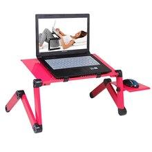 Escritorio de aluminio ajustable para ordenador portátil, bandeja ergonómica portátil para TV, soporte de mesa para PC, soporte de mesa para Notebook, soporte de escritorio con alfombrilla de ratón